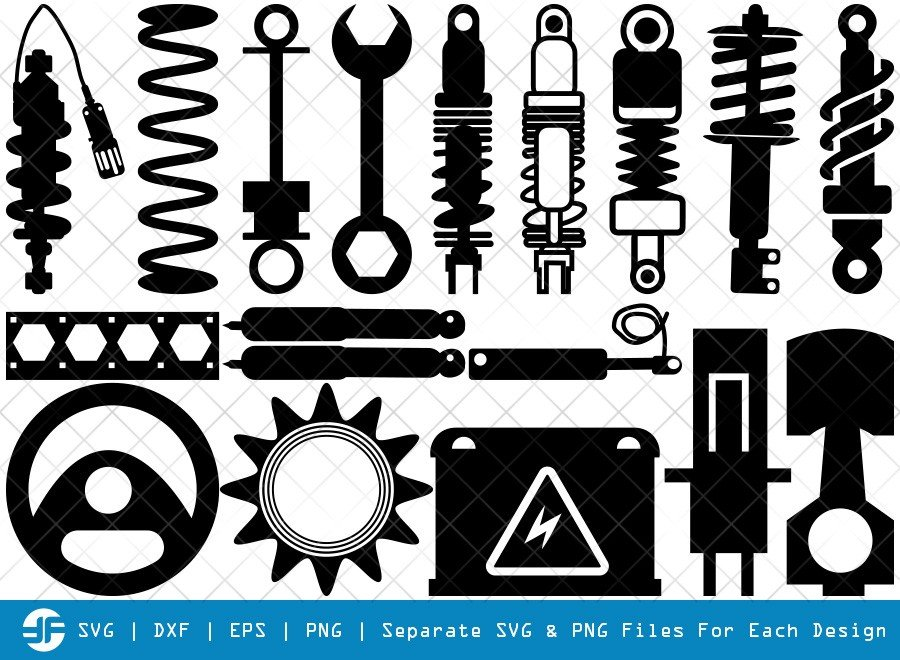 Shock Absorbers SVG Cut Files | Absorbers Silhouette Bundle