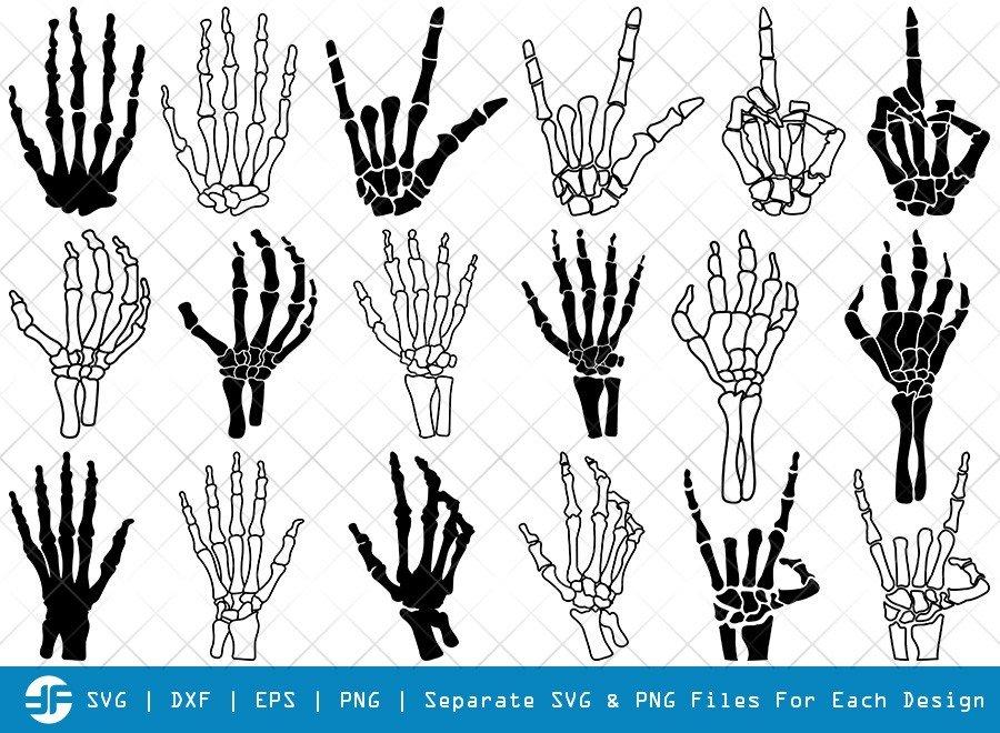 Skeleton Hand SVG Cut Files | Skeleton Rock Hand Silhouette