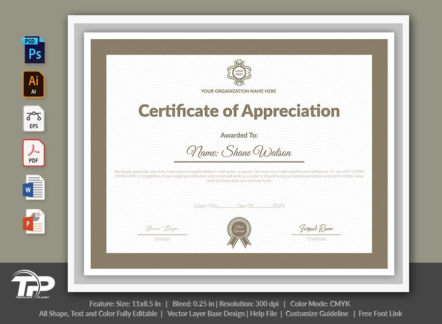 Printable Certificate of Appreciation Template | COA002
