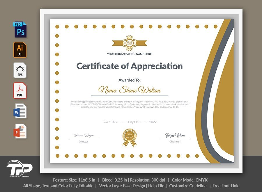 Printable Certificate of Appreciation Template | COA003