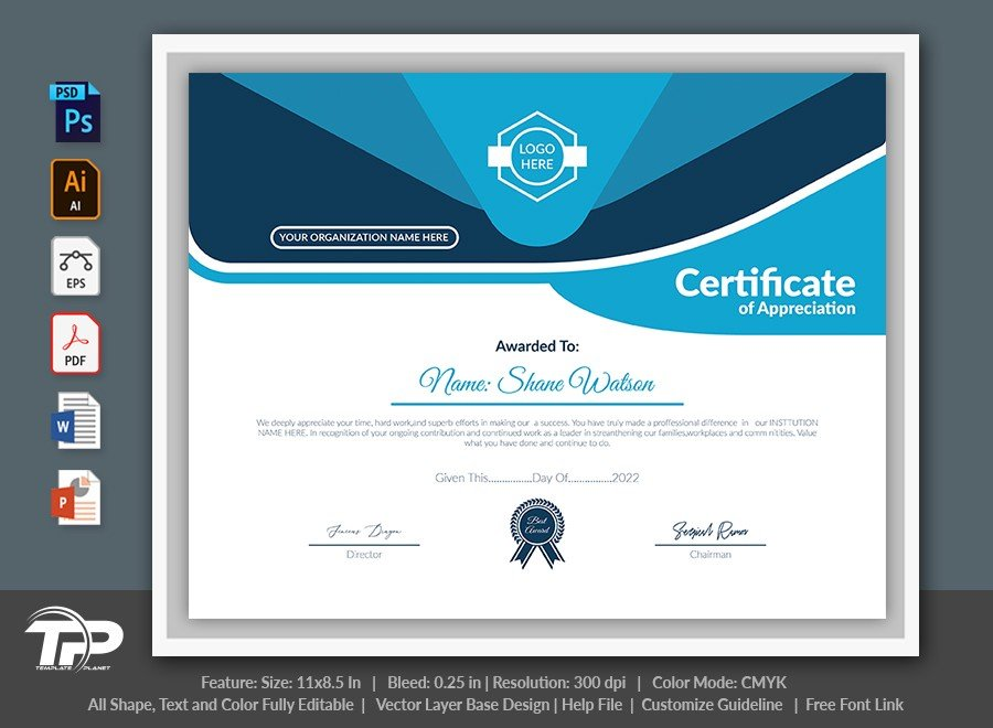 Printable Certificate of Appreciation Template | COA007