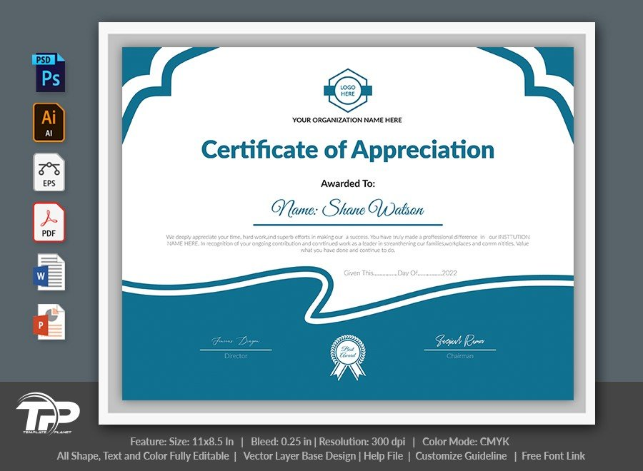 Printable Certificate of Appreciation Template | COA010