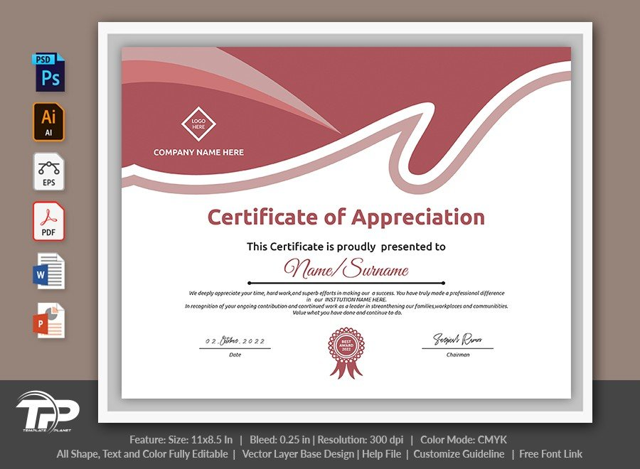 Printable Certificate of Appreciation Template | COA012