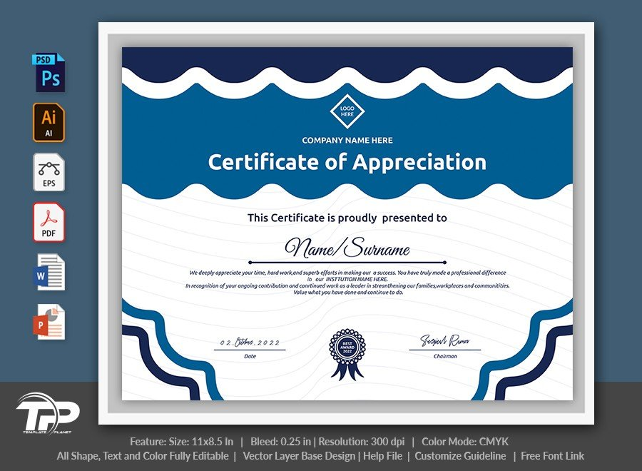 Printable Certificate of Appreciation Template | COA014