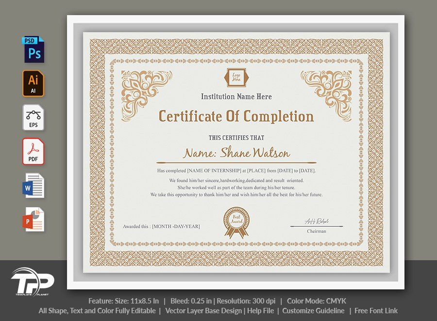 Certificate of Completion Template | COC003