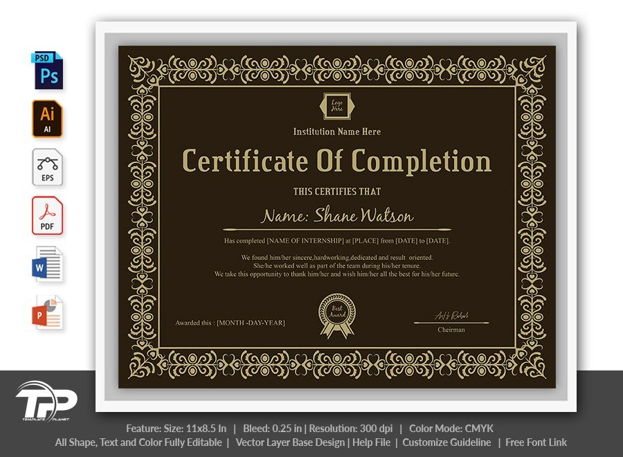 Certificate of Completion Template | COC004