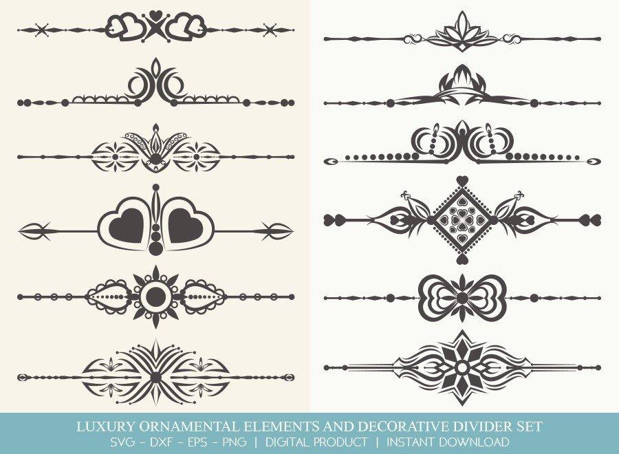 Luxury Ornament Divider Set SVG Cut Files | DDS008