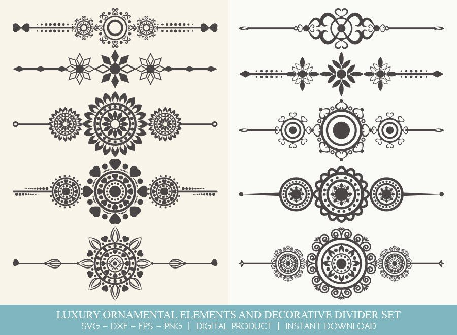 Luxury Ornament Divider Set SVG Cut Files | DDS0010