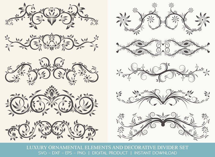 Luxury Ornament Divider Set SVG Cut Files | DDS0012