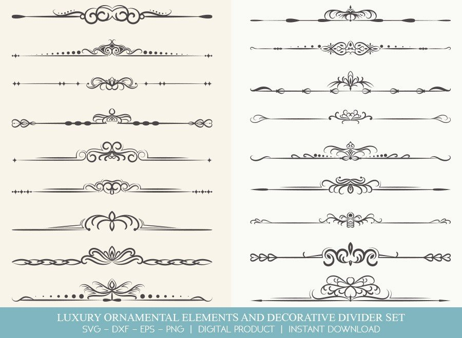 Luxury Ornament Divider Set SVG Cut Files | DDS0013