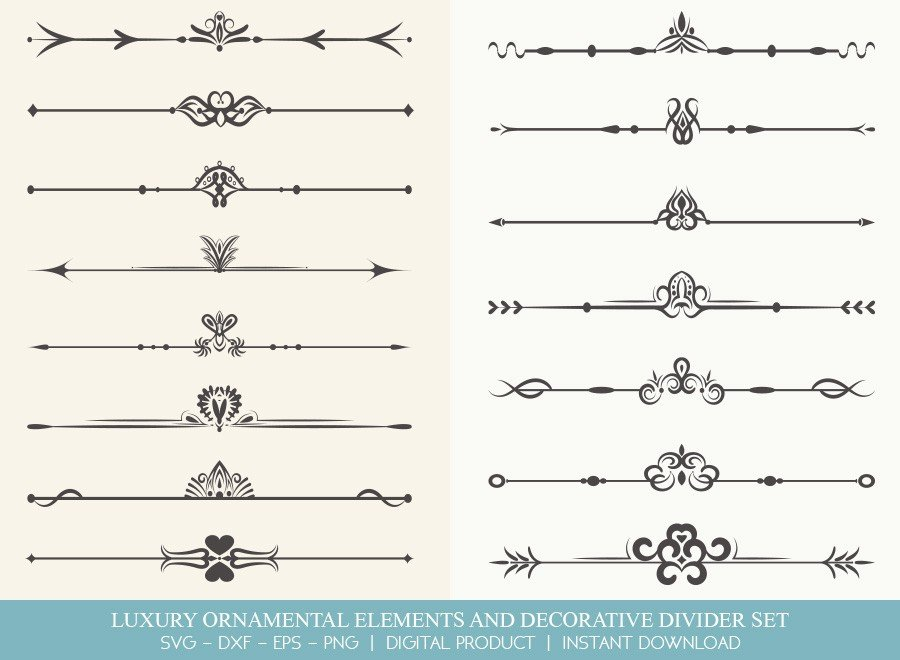 Luxury Ornament Divider Set SVG Cut Files | DDS0020