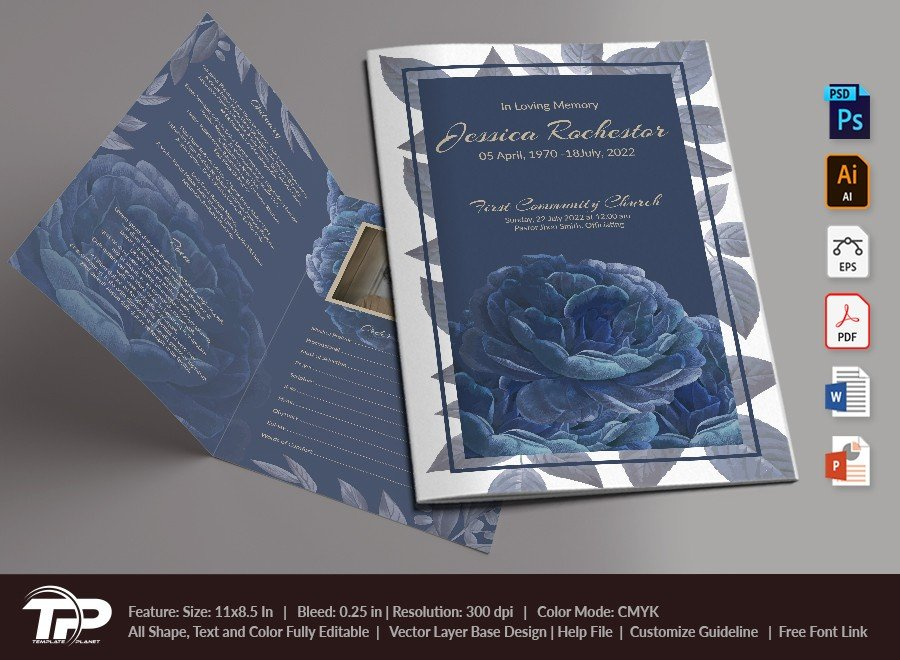 Funeral Program Template, Memorial Order of Service FPT010