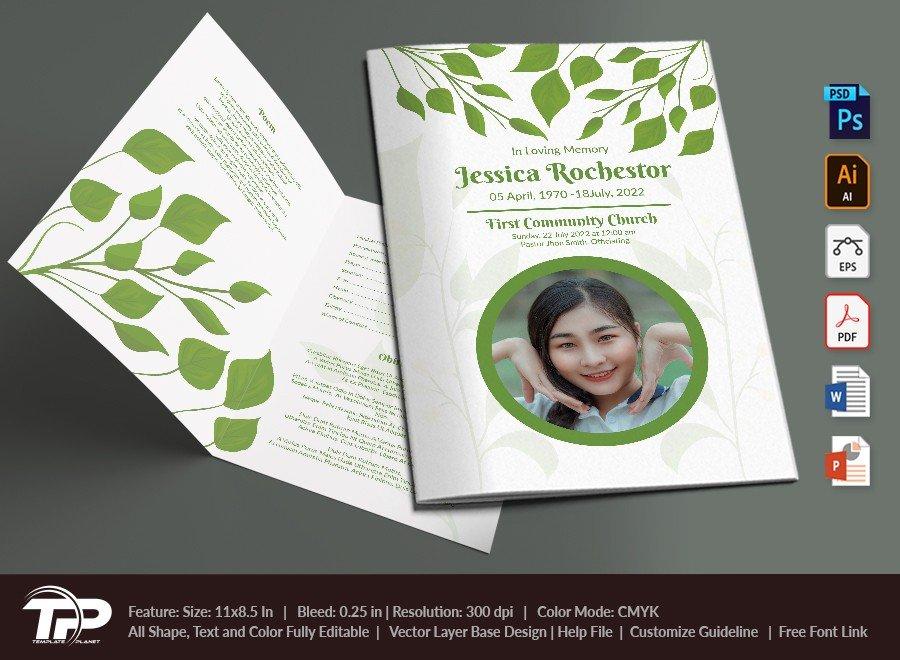 Funeral Program Template, Memorial Order of Service FPT019