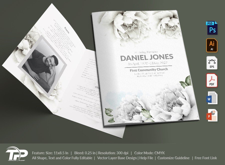 Funeral Program Template, Memorial Order of Service FPT021