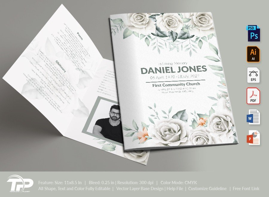 Funeral Program Template, Memorial Order of Service FPT022