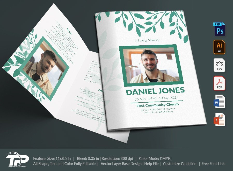 Funeral Program Template, Memorial Order of Service FPT025
