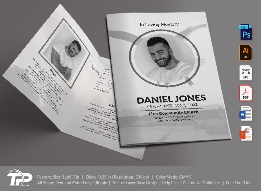 Funeral Program Template, Memorial Order of Service FPT035