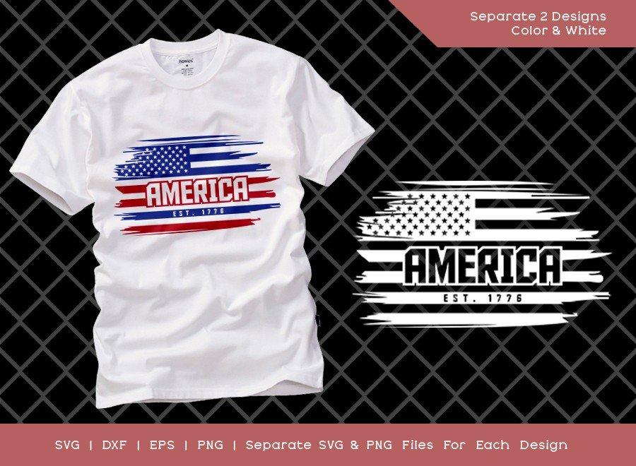 America EST 1776 SVG Cut File | USA Flag T-shirt Design