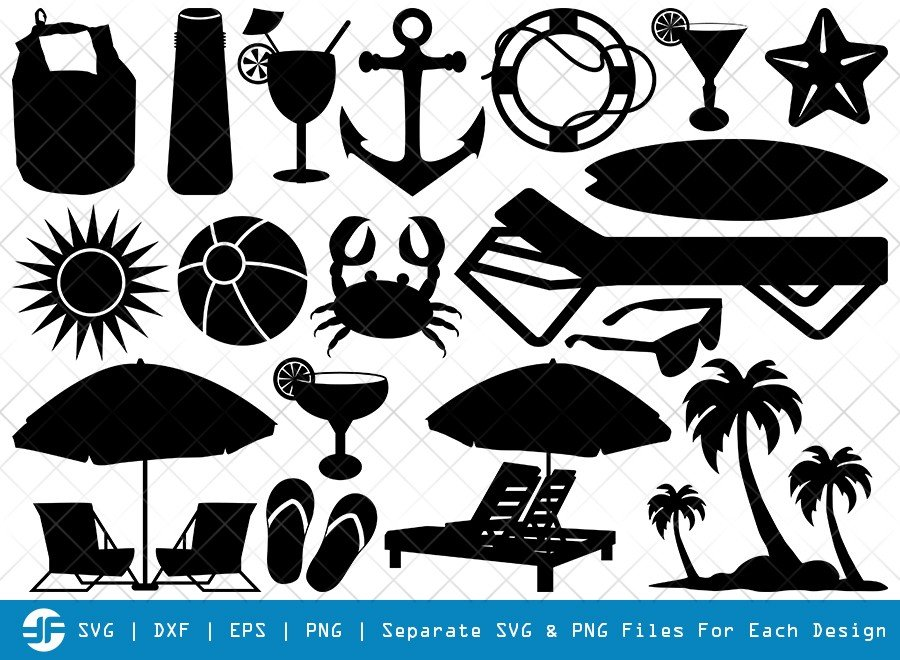 Beach SVG Cut Files | Summer SVG | Silhouette Bundle