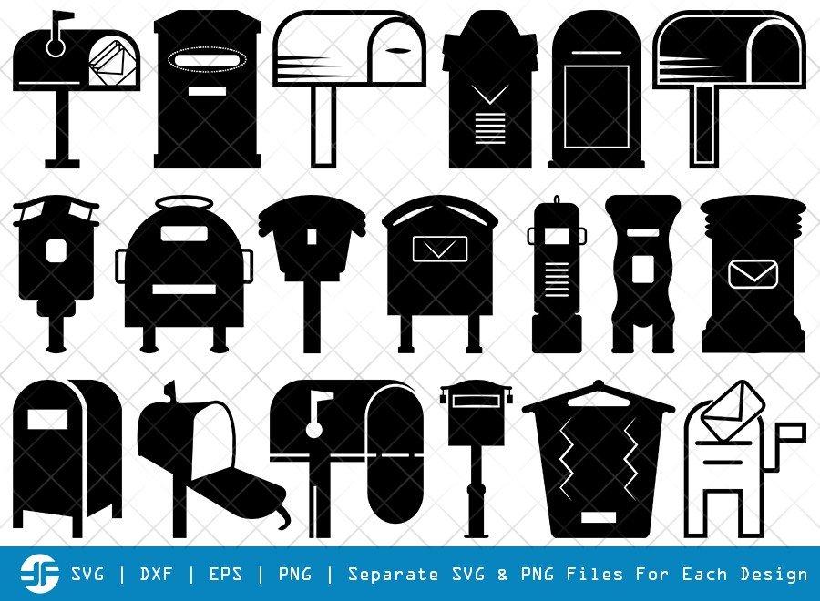 Mailbox SVG Cut Files | Opened Mailbox Silhouette Bundle