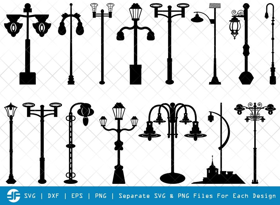 Street Lights SVG Cut Files | Street Lamp Silhouette Bundle