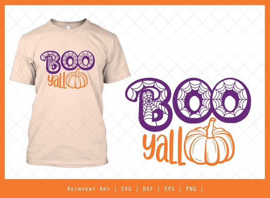 Boo Yall SVG Cut File | Cobweb SVG | Halloween Tshirt Design