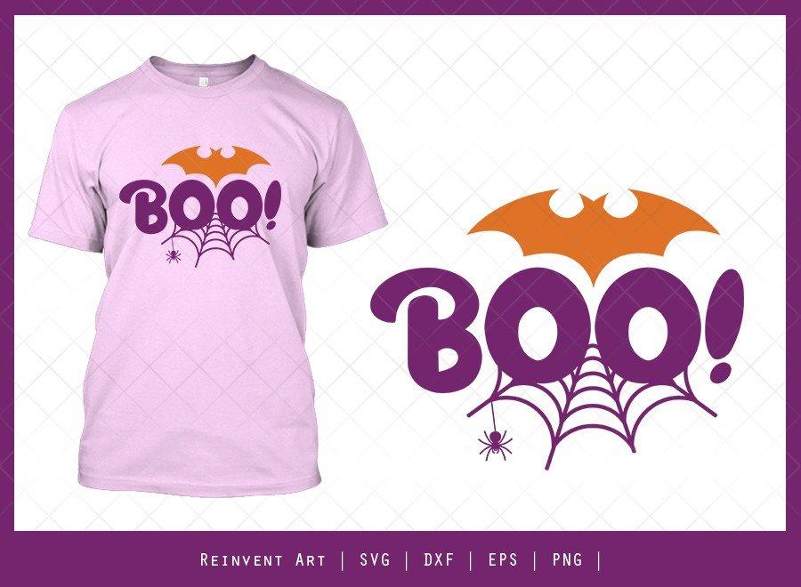 Boo SVG Cut File | Cobweb SVG | Halloween Tshirt Design