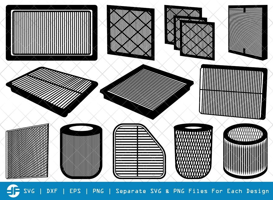 Air Filter SVG Cut Files | Ac Filter | Silhouette Bundle