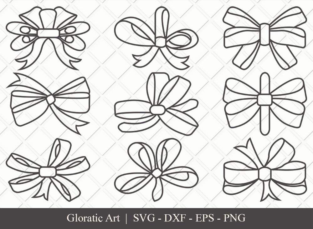 Bow Ribbon Outline SVG Cut Files | Bow Svg | Bow Ribbon