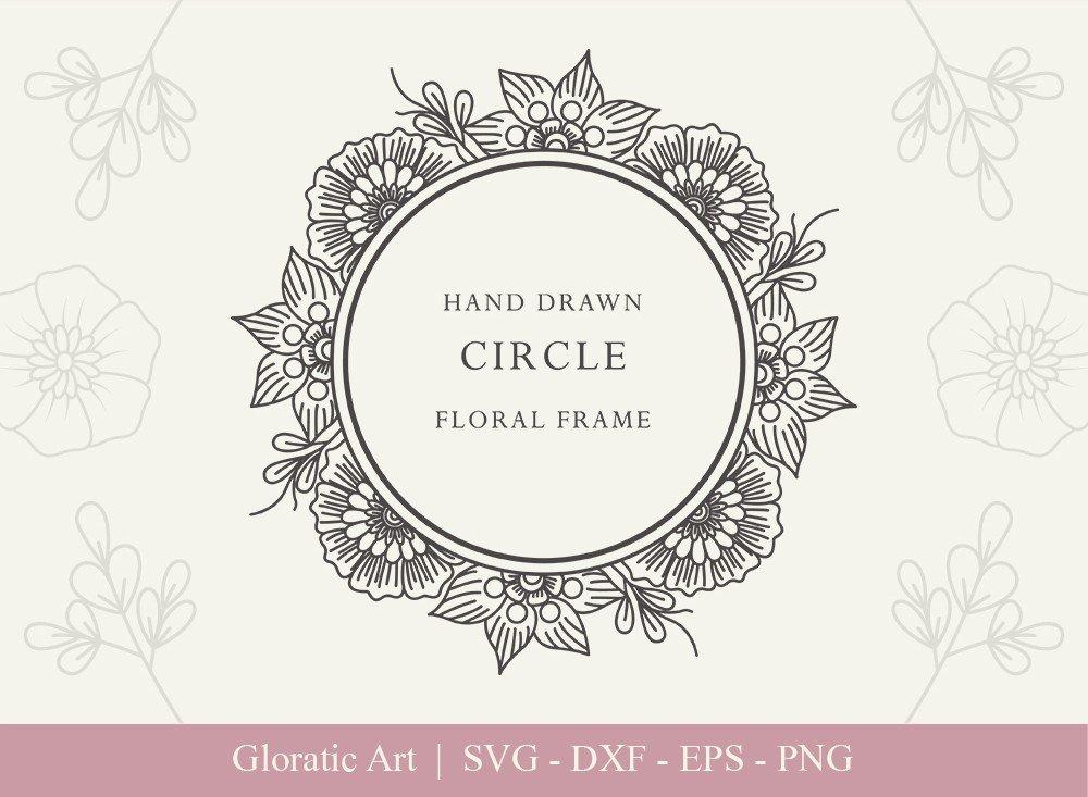 Circle Floral Frame SVG Cut Files | CFF001