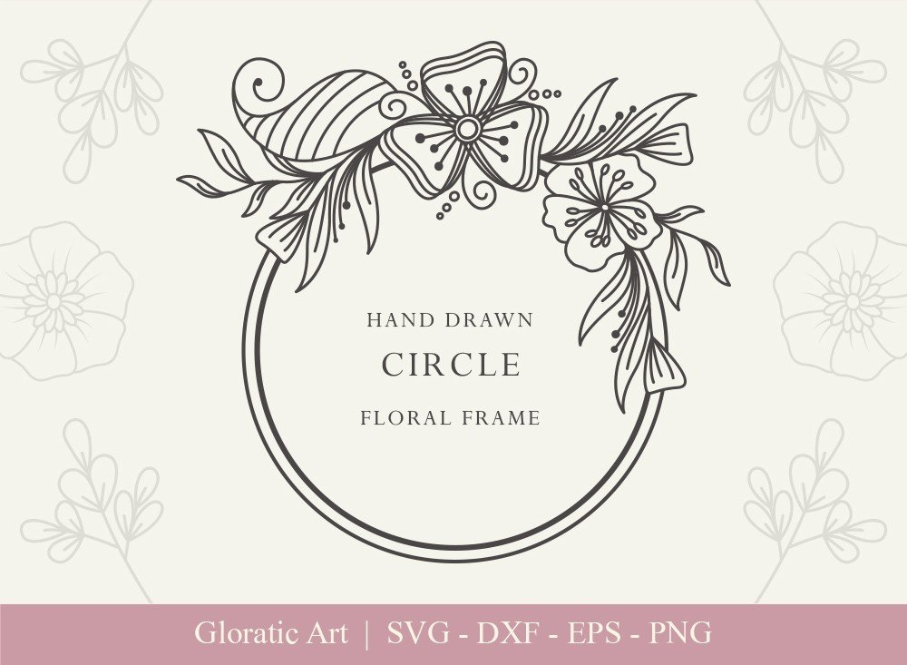 Circle Floral Frame SVG Cut Files | CFF003