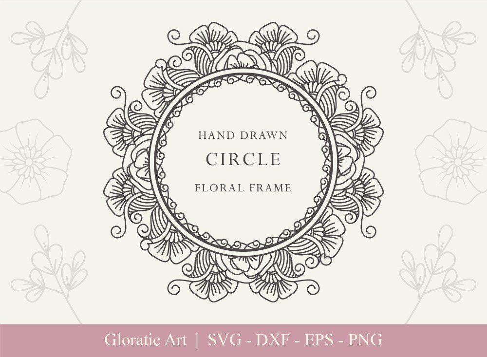 Circle Floral Frame SVG Cut Files | CFF0010