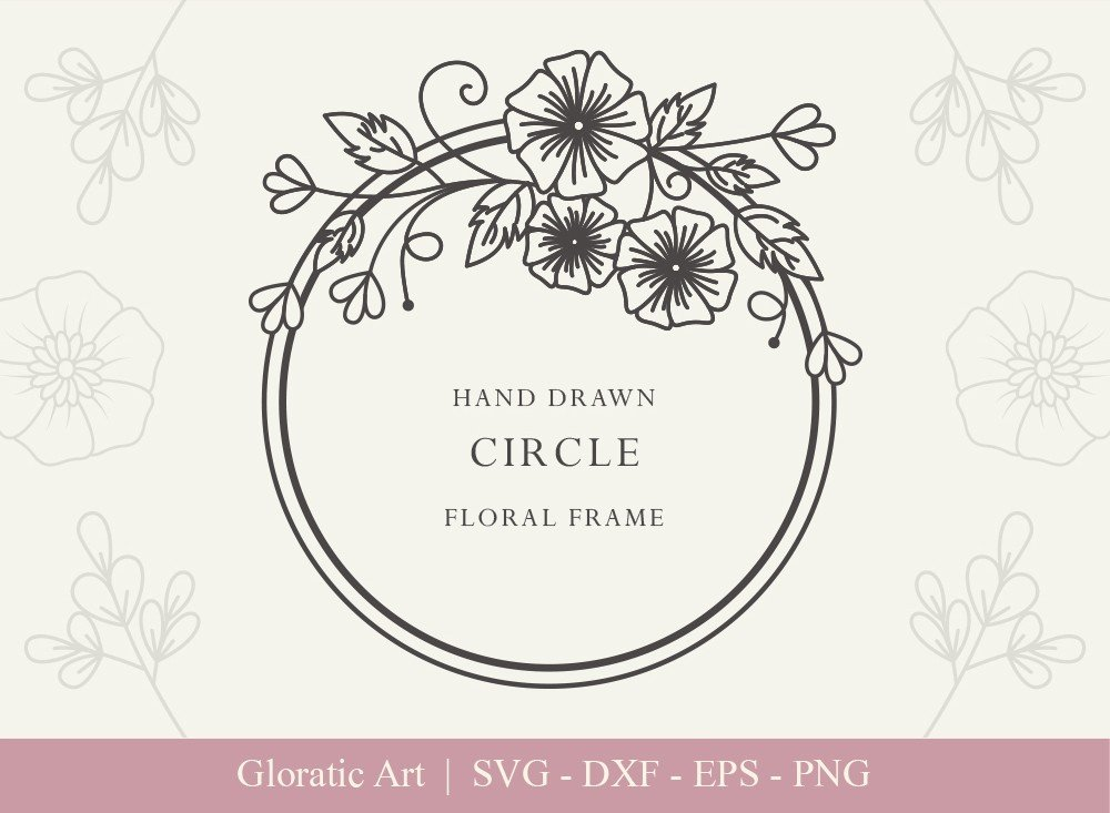 Circle Floral Frame SVG Cut Files | CFF0013
