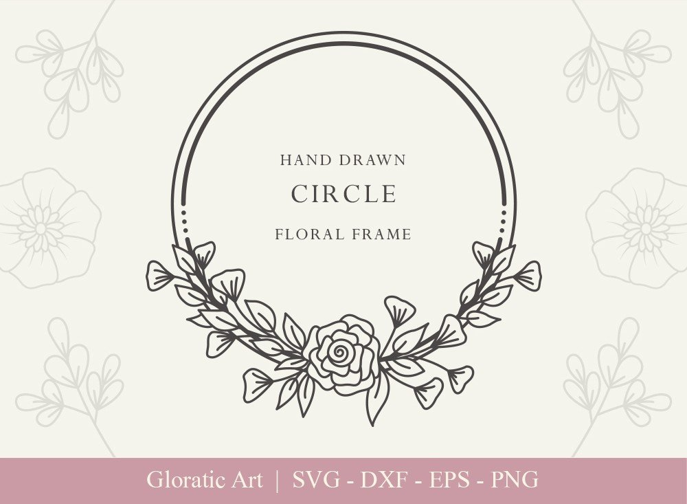 Circle Floral Frame SVG Cut Files | CFF0014