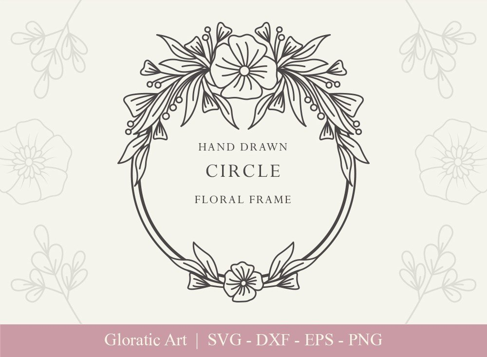 Circle Floral Frame SVG Cut Files | CFF0017