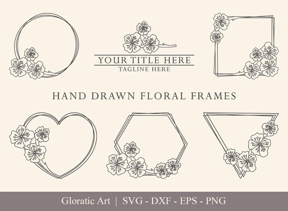 Floral Frame SVG Cut Files | Flower Wreath Bundle | FF005