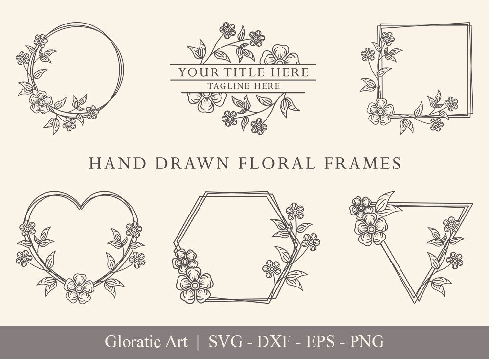 Floral Frame SVG Cut Files | Flower Wreath Bundle | FF0011