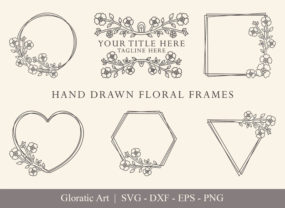 Floral Frame SVG Cut Files | Flower Wreath Bundle | FF0013