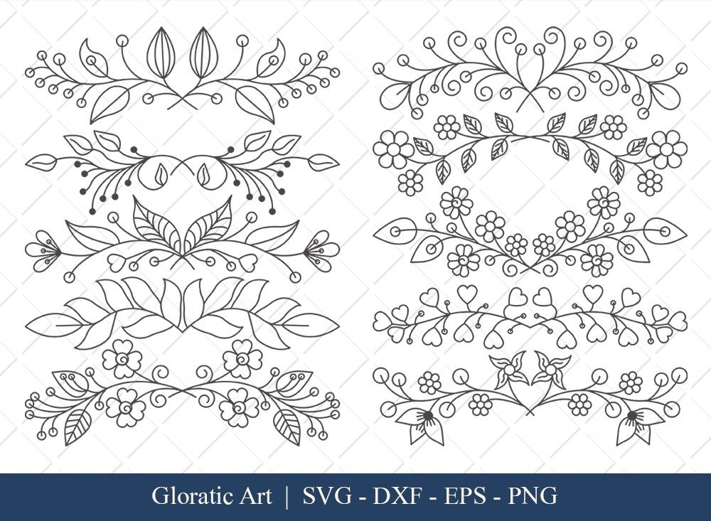 Floral Text Divider SVG Cut Files | FTD008