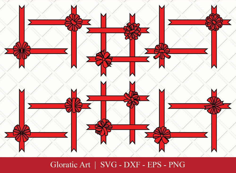 Gift Box Ribbon Clipart SVG Cut Files | Gift Box SVG
