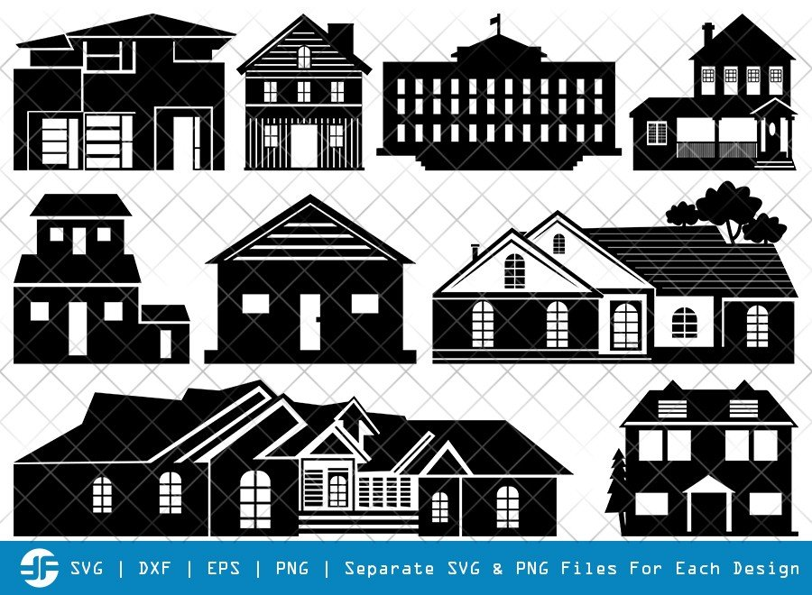 House SVG Cut Files | Building SVG | Home Silhouette Bundle