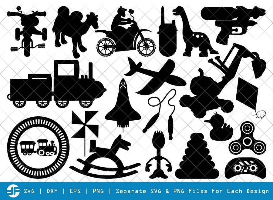 Kids Toys SVG Cut Files | Toys SVG | Toys Silhouette Bundle