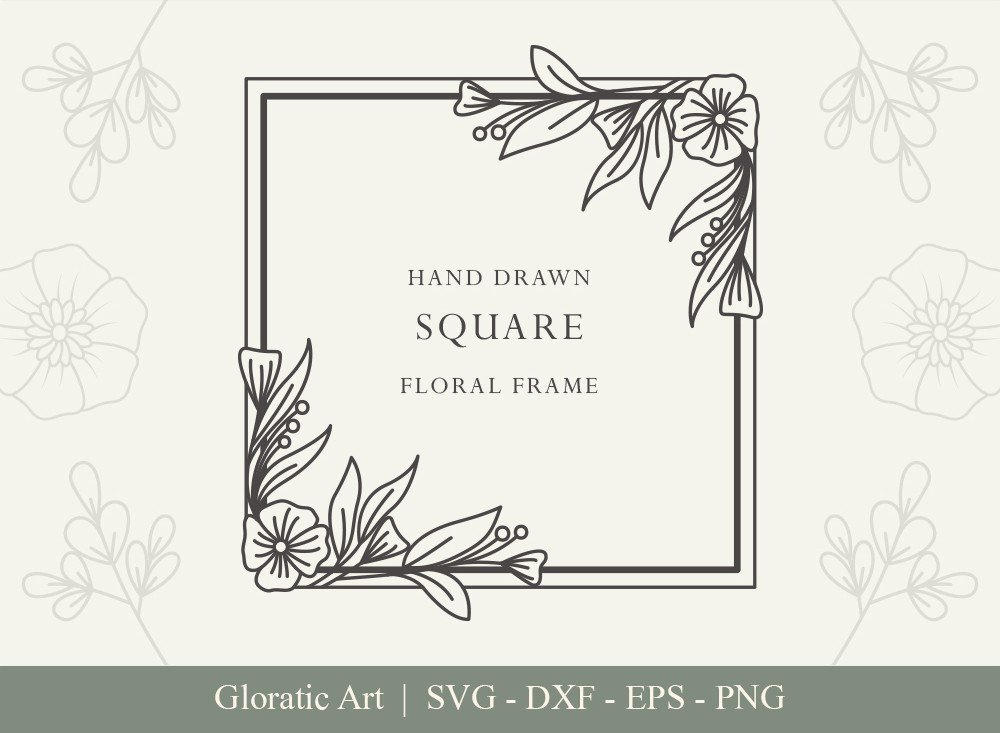 Square Floral Frame SVG Cut Files | SFF005