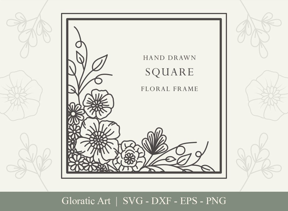 Square Floral Frame SVG Cut Files | SFF006