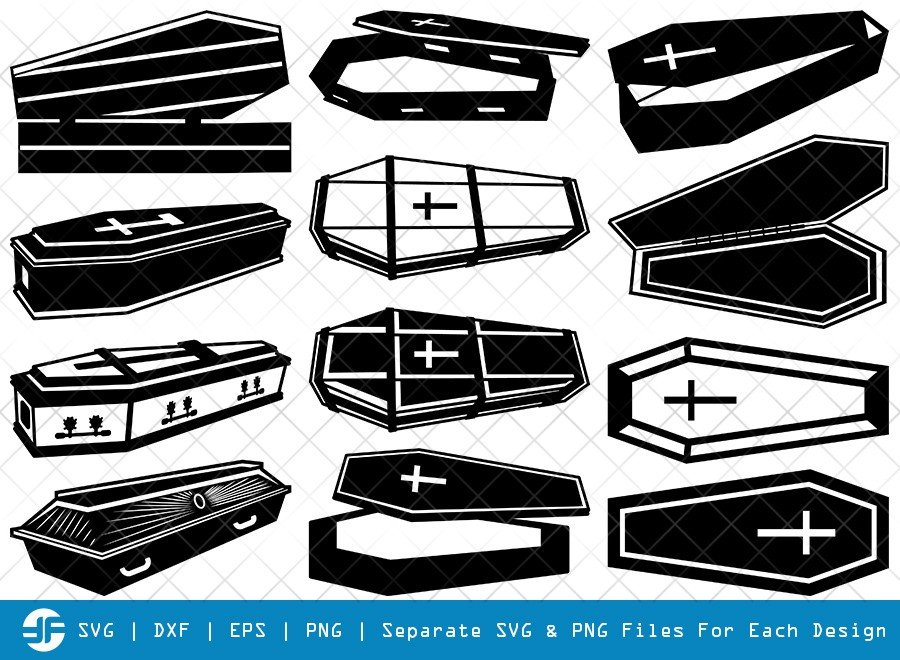 Coffin SVG Cut Files | Coffin Box Silhouette Bundle