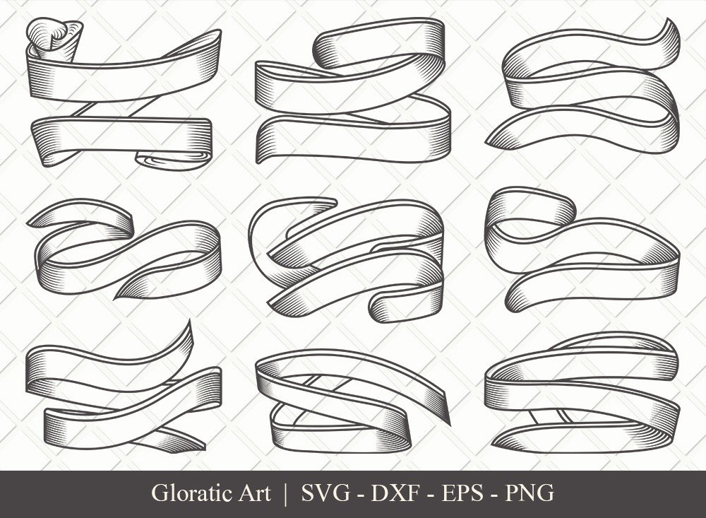 Text Ribbon Outline SVG Cut Files | Text Banner Svg | TRC007