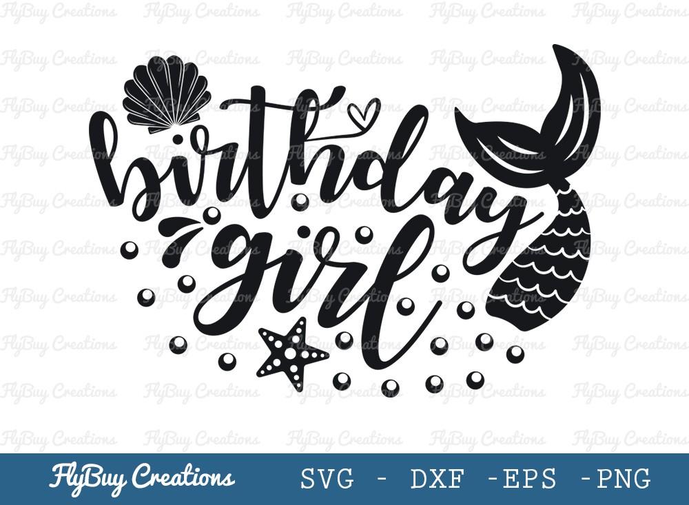 Mermaid Birthday Girl Svg Cut File | Seashell Svg