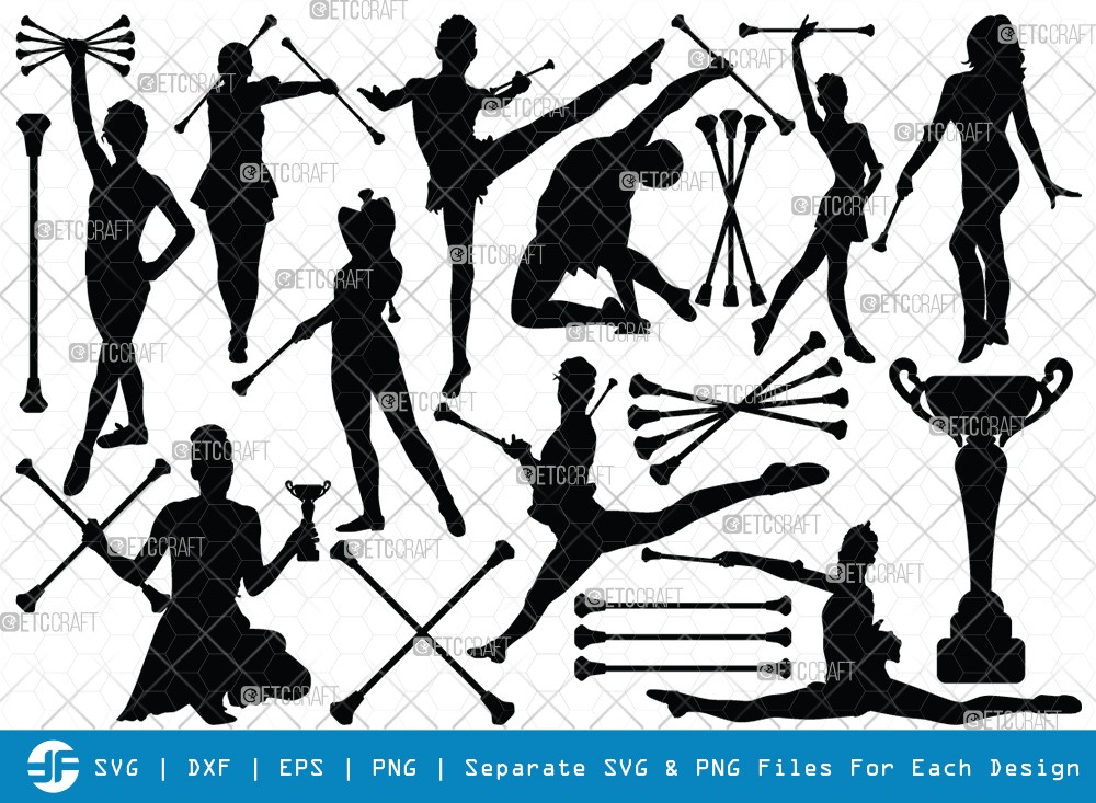 Baton Twirling SVG Cut Files | Sport Baton Silhouette