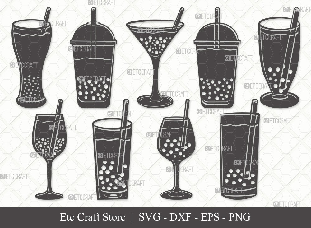 Bubble Tea Silhouette SVG Cut File | Boba Tea Svg