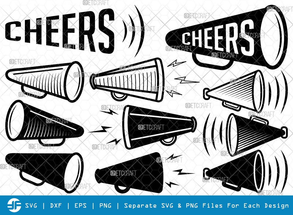 Cheer Megaphone SVG Cut Files | Cheer Silhouette
